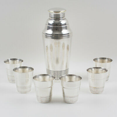 Vintage French Art Deco Silver Plate Martini Shaker and 6 Cocktail Cups