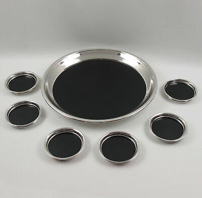 F.B. Rogers Barware Serving Set Tray and 6 Coasters Silver Plate and Bakelite