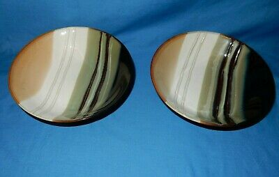 "Set of 2 Jazz Home Trends 7 5/8"" Soup Cereal Salad Bowls Brown Tan White Stripe"
