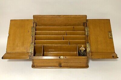 Antique Oak Desktop Stationery Cabinet Desk Tidy Writing Box Letter Rack