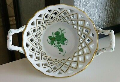 Nice Herend Hand Painted Porcelain Reticulated Chinese Bouquet Open Edge Basket