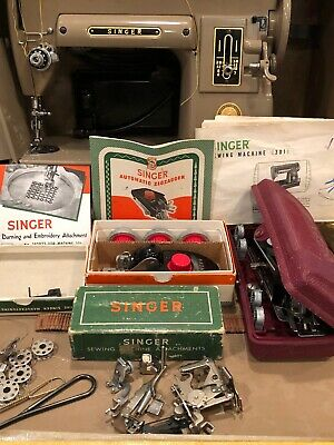 VINTAGE SINGER 301A SLANT SEWING MACHINE  Simanco USA 170156-1951 TAUPE