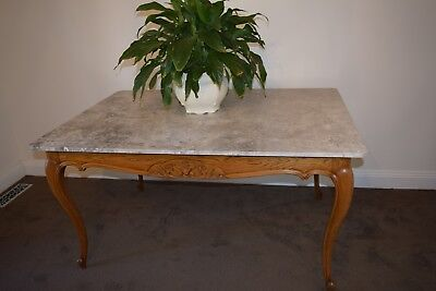 Stunning Antique French Provincial Oak / Marble Top Dining Table