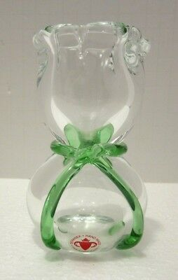 BERANEK Studio Art Glass Crystal 4'' Vase Green Hand Blown Czech Bohemian