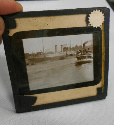 #D422. #20. Early  Glass Slide  - Ferry & Ship