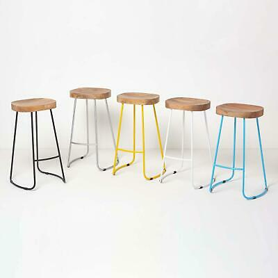 Metal & Wooden Breakfast Kitchen Bar Stools Industrial Pub, Cafe Seats Chairs