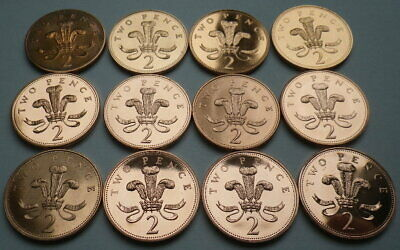 Brilliant Uncirculated 2P Two Penny Coins 1982 To 2016 Choice Of Date