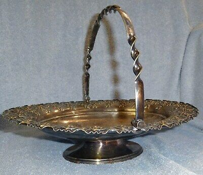 ELEGANT ANTIQUE Fenton Brothers SHEFFIELD SILVERPLATE w Handle BOWL BASKET