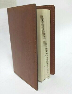 Brown Personal Phone Mini Address Book index Retro flux leather collectible