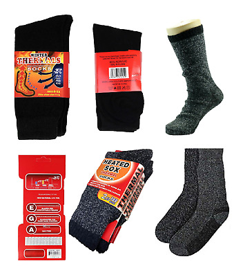 3 Size Mens Heated Thermal Socks 2.13 TOG Thick Long Warm Outdoor Work Boot Sock