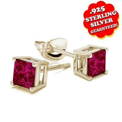 3 Ct Square Princess Cut Ruby Stud Earrings 14k Yellow Gold Over