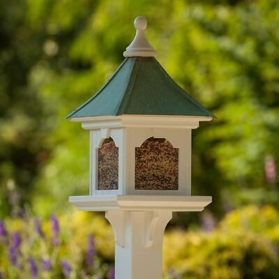 "Estate Post Mount Patina Copper Roof Bird Feeder -Large Capacity 12 X 12 X 26"" H"