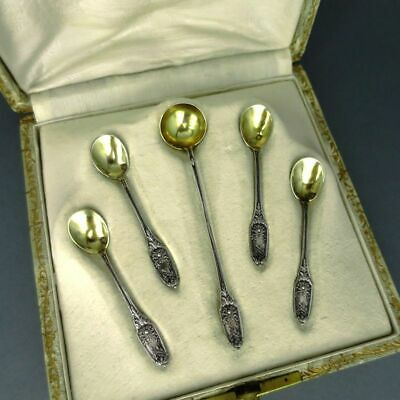 Antique Silver and Gold Set Salt Spoon and Mustard Spoon France 19. Century