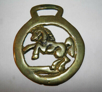 "Horse Harness Brass Rearing Horse Medallion Saddle Bridle Ornament 3 & 5/8"" x 3"""
