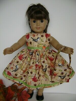 """Doll Clothes 18"""" Fits American Girl ' Autumn ' Dress & Bag New Handmade In Usa!"""