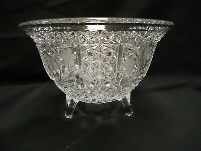 """Vintage Etched glass footed bowl 6 1/2"""" tall 10"""" Diameter - VERY NICE"""