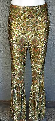 Paisley polyester high waisted bell bottom pants, 1970's, size 6-8