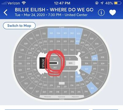 2 GA PIT Tickets SOLD OUT  Billie Eilish 3/24/20 United Center Chicago, IL