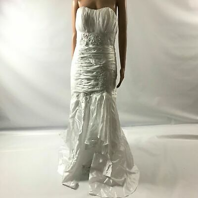 Womens White Wedding Dress-Strapless Beaded Satin Gown Long Train Corset Size Sm