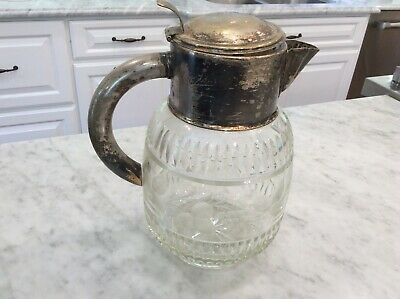 Large Vintage Etched, Pressed Glass and Silverplate Pitcher