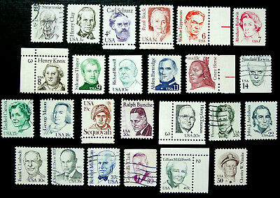 US, 1980-85 Great Americans, 25 Stamps, Short Set, Scott 1844 // 69, Mixed