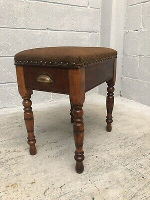 Antique Oak Piano Stool With Underseat Storage Brass Cup Handles