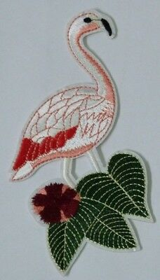 1 Pieces Pink Flamingo Clothing Iron On Sew on Embroidery Patches applique
