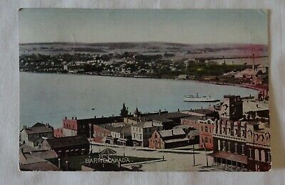 POSTCARD 1906 BARRIE  waterfront ship street view