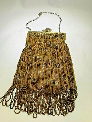 Antique Art Deco 1920's French Gold Beaded Flapper Purse/Bag