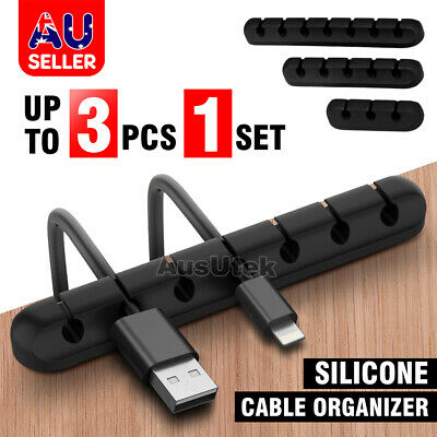 3x USB Charge Cable Holder Desk Cable Clips Organizer Cord Management