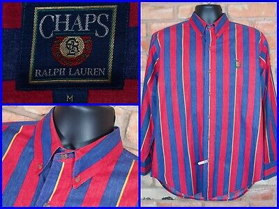 Vtg Ralph Lauren Chaps Red Wide Hickory Striped Dress Shirt Mens Med Retro