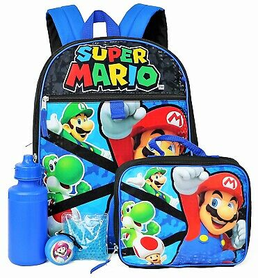 "SUPER MARIO BROS 16"" 5-Piece Backpack Set w/Insulated Lunch Box + Bottle NWT"