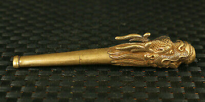 rare Asian old bronze hand carved dragon head pipe smoking tool collectible