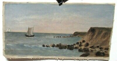 Old Small Oil On Canvas Sail Boats And Rocks Seascape Painting