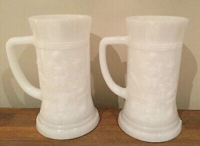 Federal Glass Milk Glass Tankards X 2 Embossed Tavern Theme Excellent Condition