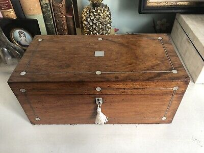 Antique Wooden Tea Caddy Mother Of Pearl Inlay Original Glass Bowl & Key