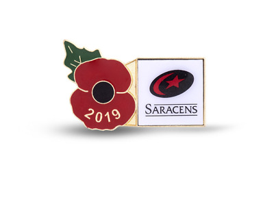 Saracens Official 2019 Rugby Poppy Limited Edition  Badge