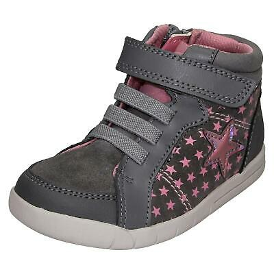 Infant Girls Clarks Casual Star Design Zip Leather & Material Boots Emery Beat