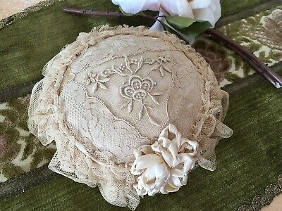 Lovely Antique Pin Cushion French Tambour Lace Ribbon Needle Work Netting #A