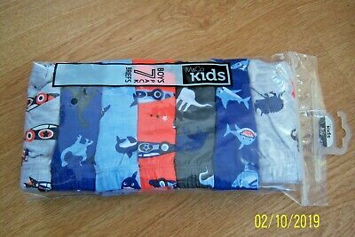 Pack Of 7 Pairs Boys Cotton Briefs Age 6 - 7  Multi - Cars Dinosaurs Sharks Bnwt