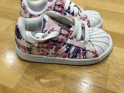 Adidas Originals Superstar canvas Girls Trainers Kids Baby Infant Shoes UK 9.5 K