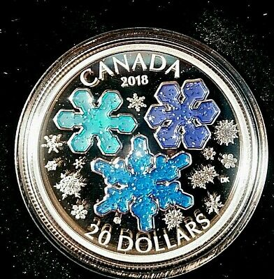 2018 Canada Ice Crystals 1 oz Silver Enameled Proof $20 Coin