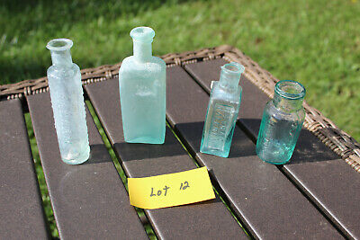 Antique Medicine Bottles/ LOT of 4, Hand blown, PONTIL, PRE 1900  All Aqua