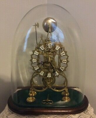 Vintage Glass Domed Brass French Skeleton Clock With Pendulum, Key Works .