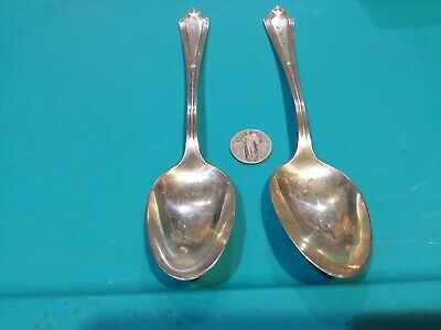 Two Gorham Sterling Silver Plymouth 8.5 Inch Serving Spoons 145 Grams