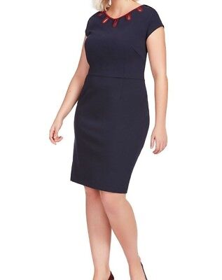 Tocca Ponte Knit Fitted Shift Dress In Black Size 2X