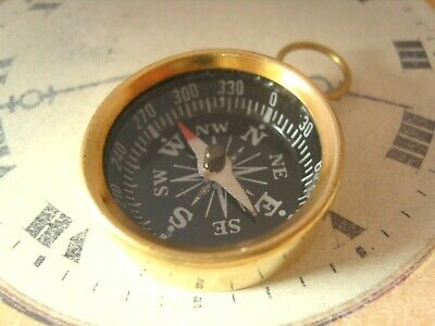 Pocket Watch Chain Compass Fob Antique Style Chunky Brass Case With Black Dial