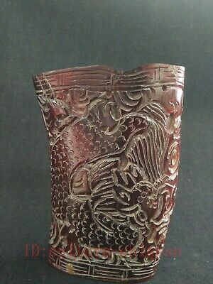 Collection Ancient China Tibet Old Hand Carved Dragon Cattle Horn Cup Ornaments