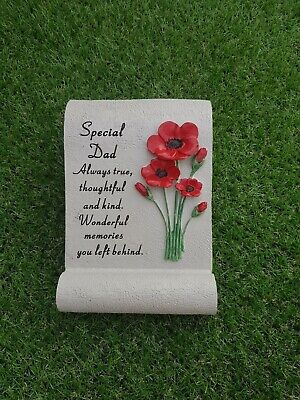Graveside Memorial Special Dad Poppy Scroll Ornament Grave Stone Remembrance