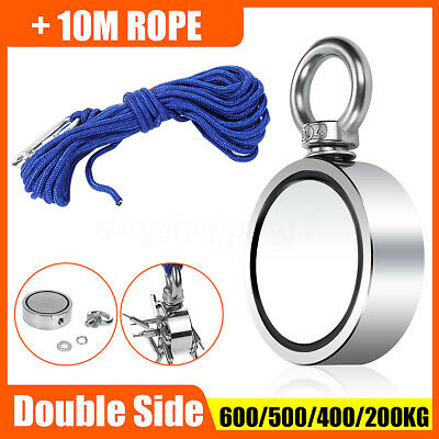 600KG Pull Salvage Dual Side Strong Recovery Magnet Fishing Treasure + 10M Rope